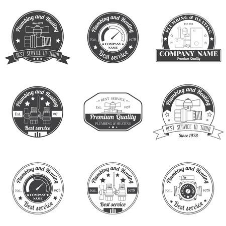 ヴィンテージ配管、暖房のサービスのロゴ、ラベル、バッジを設定します。スタイリッシュなモノクロ デザイン。あなたの会社。コーポレート ・   イラスト・ベクター素材