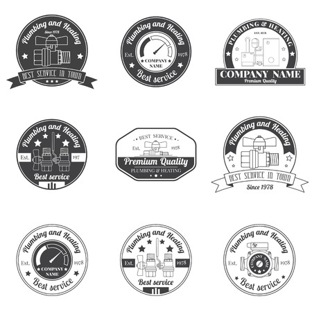 Set Vintage Plumbing, Heating Services logo, labels and badges. Stylish Monochrome design.For your company. Corporate identity concept, business sign template.