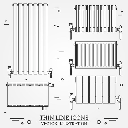 heat: Central Heating Radiators icons thin line for web and mobile, modern minimalistic flat design. Vector dark grey icon on light grey background.Set.