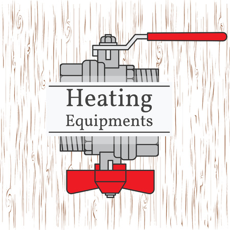 detai: Heating equipments badge. Vector. Ball valve.