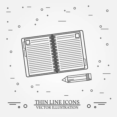 notebook: Notebook and pencil thin line design.Notebook and pencil pen Icon. Notebook and pencil pen Icon. Notebook and pencil pen Icon Drawing.Notebook and pencil pen Icon Image.Notebook and pencil  Icon Graphic.Notebook and pencil pen Icon Art. Thin line icon. Illustration