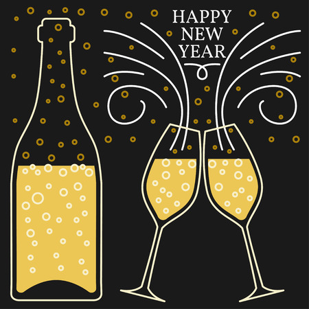 champagne glasses: Happy new year greeting card. EPS10 vector. Champagne glasses thin line.