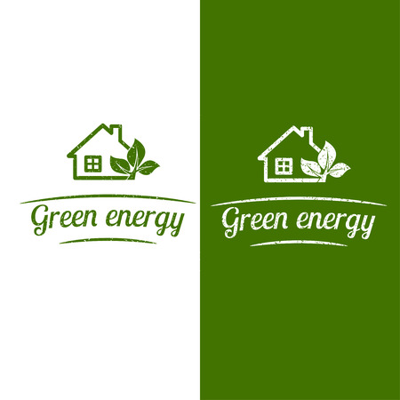 Green energy, eco house design. Flat icon. Vector illustration. Ilustracja
