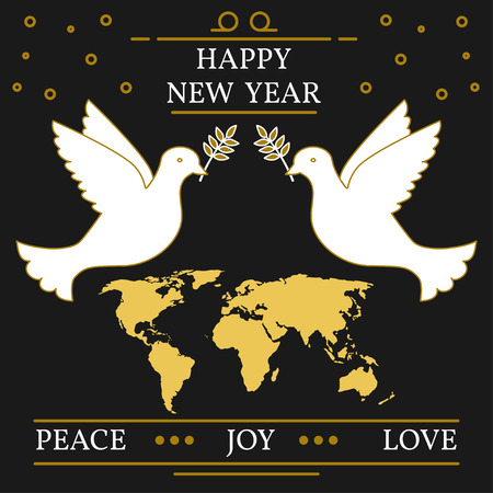 paz mundo: Feliz año nuevo, la paz, la alegría y la tarjeta de felicitación del amor. EPS10 del vector. Palomas y un mapa de la forma.