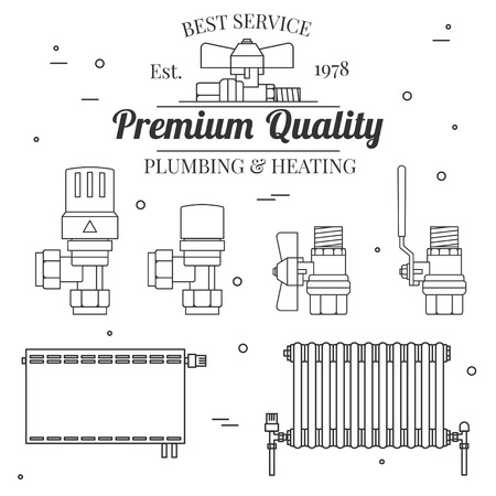 central heating: Ball valve icons and central Heating Radiators icons thin line for web and mobile, modern minimalistic flat design. Vector dark grey icon on light grey background.Set.
