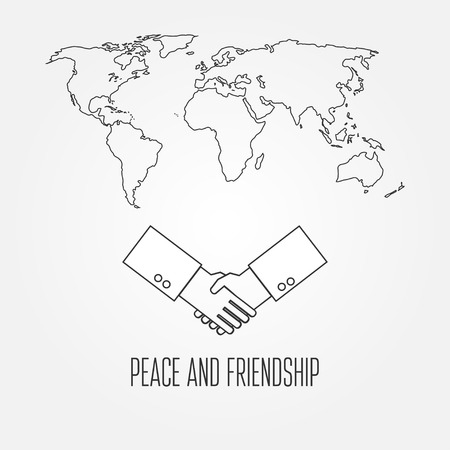 friends having fun: Peace and friendship concept icon thin line for web and mobile, modern minimalistic flat design. Vector dark grey icon on light grey background.  Print for t-shirt.
