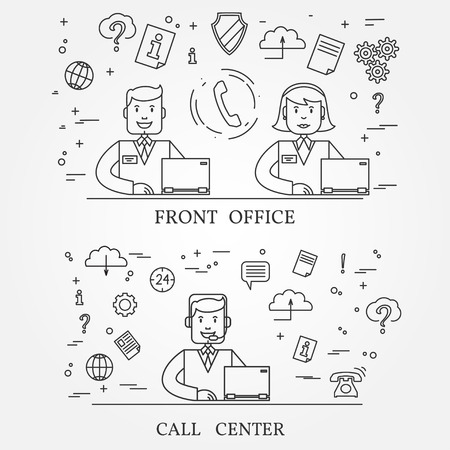 toll free: Front office and call center concept icon thin line for web and mobile, modern minimalistic flat design. Vector dark grey icon on light grey background.