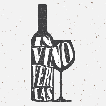 Trendy style hipster vector illustration, typographic poster with bottle of wine and a glass silhouette and quote. In vino veritas. Vintage t-shirt print design, home decoration, greeting card.