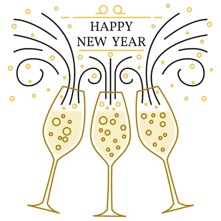 clink: Happy new year greeting card. EPS10 vector. Champagne glasses thin line.