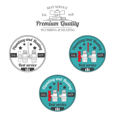 Set of plumbing and heating vintage labels. Outdoor for you company logo design. Central heating system icon symbol. Heating and plumbing  badge. Vector. Illustration
