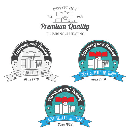 central heating: Set of plumbing and heating vintage labels. Outdoor for you company logo design. Central heating system icon symbol. Heating and plumbing  badge. Vector. Illustration
