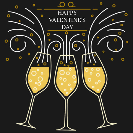 champagne glasses: Happy valentines day greeting card.  vector. Champagne glasses thin line. Illustration