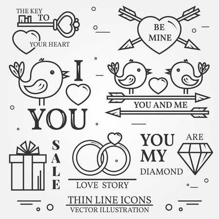 minim: Vector thin line badge, label set for Saint Valentines day and love theme. For web design and application interface, also useful for infographics. Set  includes - cupcake, diamond, bird, heart, gift, cherry, wedding rings, key, arrows icons. Modern minim