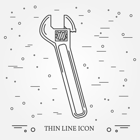 adjustable wrench: Wrench Icon. Wrench Icon Vector. Wrench Icon Drawing. Wrench Icon Image. Wrench Icon Graphic. Wrench Icon Art. Wrench Icon JPG. Wrench Icon JPEG. Wrench  Icon EPS - stock vector. Think line icon. Illustration