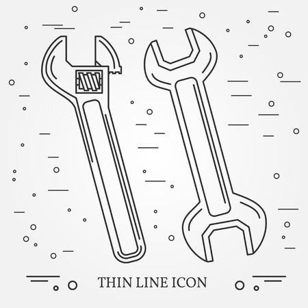 Wrench Icons. Wrench Icons Vector. Wrench Icons Drawing. Wrench Icons Image. Wrench Icons Graphic. Wrench Icons Art. Wrench Icons JPG. Wrench Icons JPEG. Wrench  Icons EPS - stock vector. Think line icons. Illustration