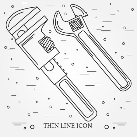 adjustable wrench: Wrench Icons. Wrench Icons Vector. Wrench Icons Drawing. Wrench Icons Image. Wrench Icons Graphic. Wrench Icons Art. Wrench Icons JPG. Wrench Icons JPEG. Wrench  Icons EPS - stock vector. Think line icons. Illustration