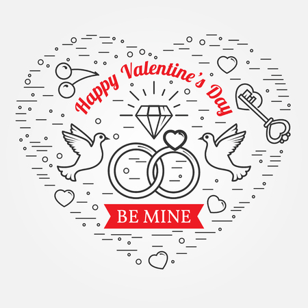 be mine: Be mine, Happy Valentines Day greetings card, labels, badges, symbols, illustrations, tattoo and typography vector elements. For web design and application interface. Thin line icon. Illustration