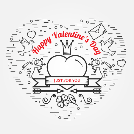 amur: Just for you, Happy Valentines Day greetings card, labels, badges, symbols, illustrations, tattoo and typography vector elements. For web design and application interface. Thin line icon.