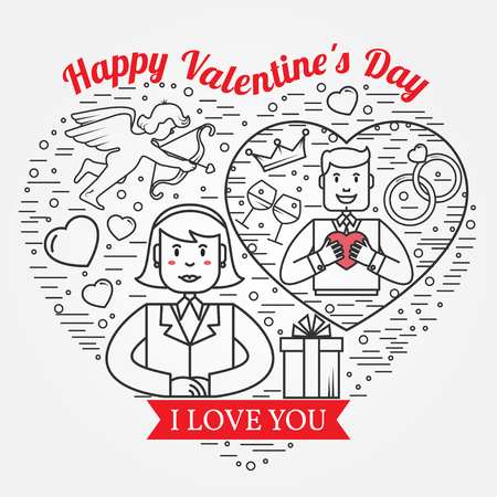 amur: I Love You, Happy Valentines Day greetings card, labels, badges, symbols, illustrations, tattoo and typography vector elements. For web design and application interface. Thin line icon.