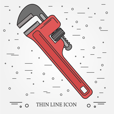 Wrench Icon. Wrench Icon Vector. Wrench Icon Drawing. Wrench Icon Image. Wrench Icon Graphic. Wrench Icon Art. Wrench Icon JPG. Wrench Icon JPEG. Wrench  Icon EPS - stock vector. Think line icon. Illustration