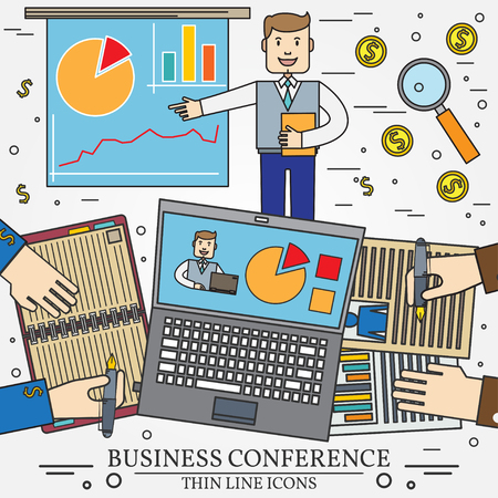 press conference: Business man giving a presentation or press conference. Team work.  Modern minimalistic flat design. Thin line icon.  Vector illustration.