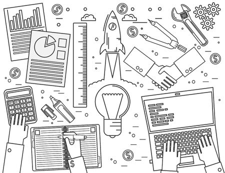 web marketing: Business, finance, management, team work, analysis, strategy and planning, startup.  Modern minimalistic flat design. Thin line icon.  Vector illustration.