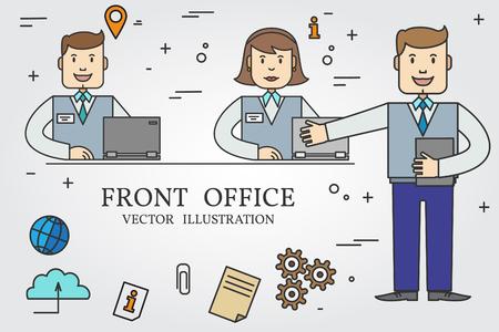 Front office. Dunne lijn icoon. Vector.