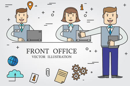 front office: Front office. Thin line icon. Vector.