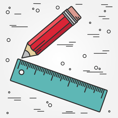 Ruler and pencil thin line design. Ruler and pencil pen Icon. Ruler and pencil Icon Vector. Ruler and pencil Icon Drawing.Ruler and pencil  Image.Ruler and pencil penl Icon GraphicRuler pen Icon Art. Think line icon. Vettoriali