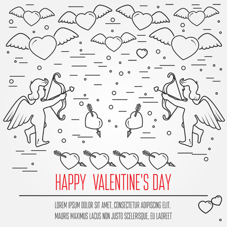 Happy Valentines Day Greetings Card Labels Badges Symbols