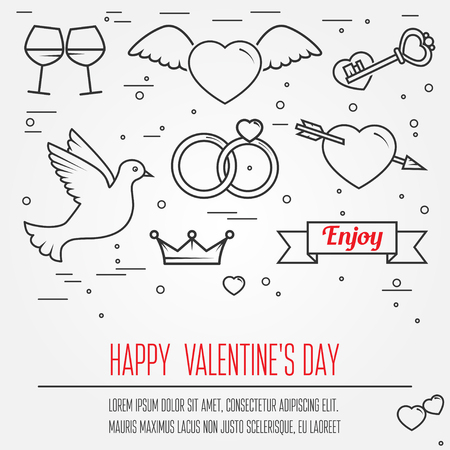 amur: Happy Valentines Day greetings card, labels, badges, symbols, illustrations, tattoo, t-shirts, banners, flyers and other types of business design with place or your text. Thin line  celebration elements icon.