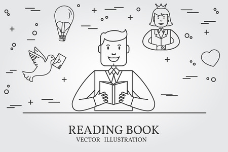imagining: Man Reading A Book And Imagining The Story. Think line icon. illustration. Illustration