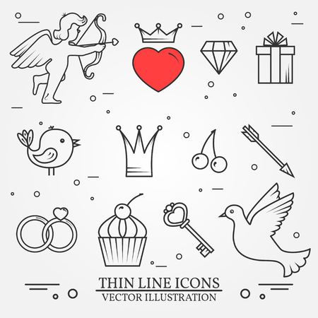 amur: thin line icons set for Saint Valentines day and love theme. For web, wedding design and application interface, also useful for infographics. Set includes - cupcake, diamond, bird, heart, gift, cherry, wedding rings, key, arrows, amur, dove icons. Modern