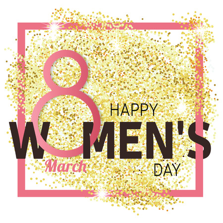 Gold glitter Women's Day.Women's Day . Women's Day Drawing. Women's Day Image. Women's Day Graphic. Women's Day Art.