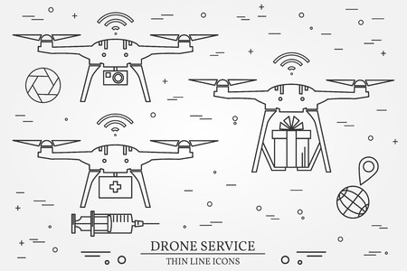 Drone Medical Delivery And P Ography Service Thin Line Icons