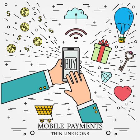 携帯電話の支払いは、スマート フォンを使用します。 Web デザイン、アプリケーション インターフェイスの概念のオンライン ショッピング。細い線