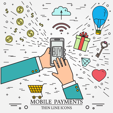 Mobile payments using a smartphone.  Online shopping concept for web design and application interface. Thin line icon.