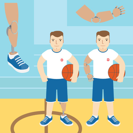 arm holding: Man with prosthetic arm, holding a basketball, and a man with a prosthetic leg, holding a basketball. Vector illustration.Flat icon.