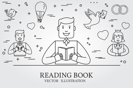 imagining: Man Reading A Book And Imagining The Love  Story. Think line icon. Vector illustration. Illustration