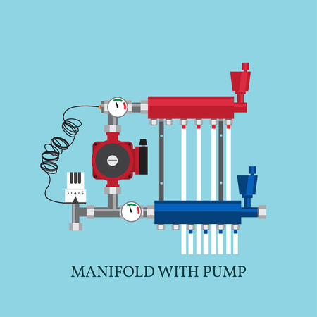 Manifold with Pump for  warm floor.  Vector illustration. Flat heating concept.