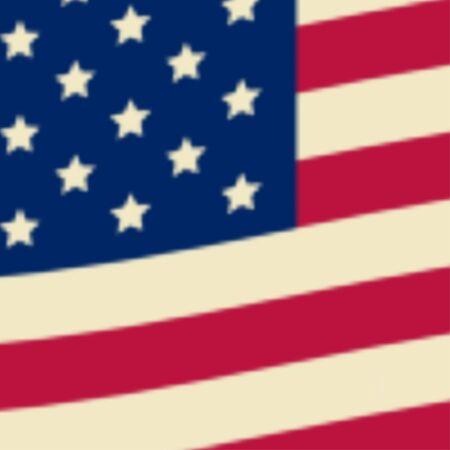 red flag up: American flag, USA flag. Vector illustration.