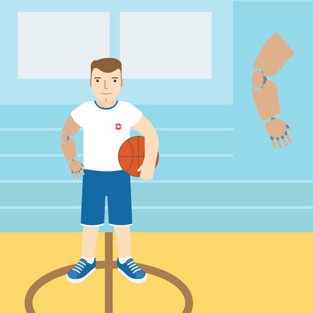 arm holding: Man with prosthetic arm, holding a basketball. Vector illustration.Flat icon. Illustration