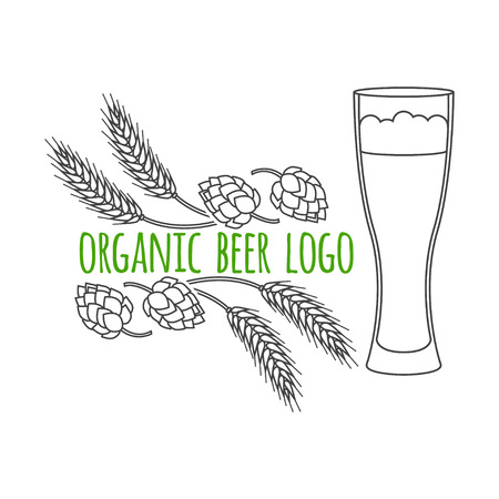 Modern line style logo, branding,  logotype,  badge  with spikes of wheat, hop and a glass of beer.  Beer symbol. Vector illustration.  Thin line icon.