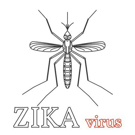 health threat: Zika virus symbol. Isolated vector illustration.Thin line icon.