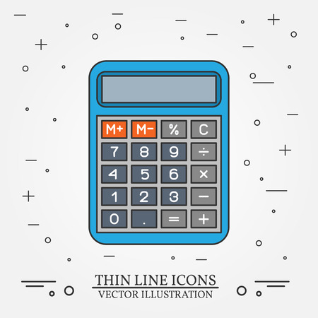 Calculator thin line design. Calculator pen Icon. Calculator pen Icon. Calculator pen Icon Drawing. Calculator pen Icon Image.Calculator  Icon Graphic. Calculator pen Icon Art. Thin line icon.