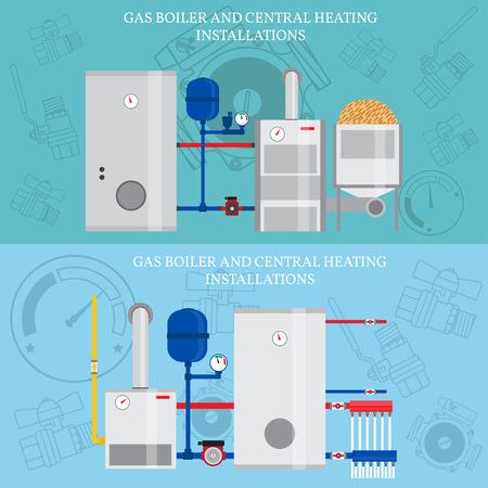 caldera de gas y instalaciones de calefacción central. Ilustración de vector