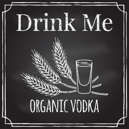 drink me: Drink me. Elements on the theme of the restaurant business.  Chalk drawing on a blackboard. Illustration