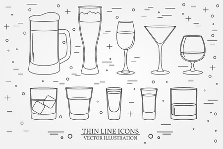 bourbon: Glasses for alcoholic drinks. Beverage, cocktail, drinks vector thin line symbol icon. Beer, wine, cognac, vodka, whiskey, tequila, bourbon emblems. Illustration