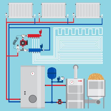 에너지 절약 난방 시스템을. 펠렛 보일러, 나무와 난방 시스템. 펌프와 매니 폴드. 녹색 에너지. 벡터.