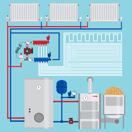 Energy-saving heating system.  Pellet boiler, heating systems with wood. Manifold with Pump. Green energy. Vector. Ilustração